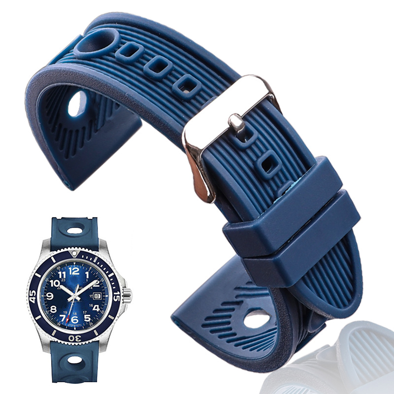 Silicone Watch Band Bracelet 22mm Black Blue Women Men Rubber Watch Strap Stainless Steel Polished Pin Buckle