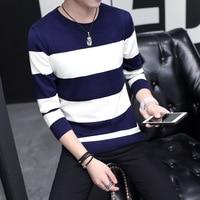 Men's sweater wholesale collar young men sweater slim Korean turtleneck striped shirt students