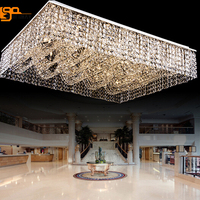 New Flush Mount Rectangular Crystal Chandelier Ceiling Fixtures Large Modern Light Hotel Lobby Chandelier