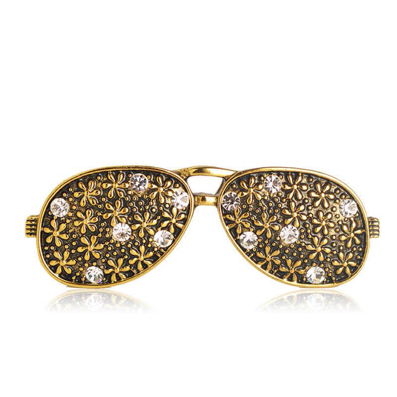 Luxury Freddo Antico Colore Dell'oro Occhiali Forma Spilla Donna Bambini Cappelli Sciarpe da Uomo Maglioni Vestito Dalla Spalla Accessori Migliore Regalo