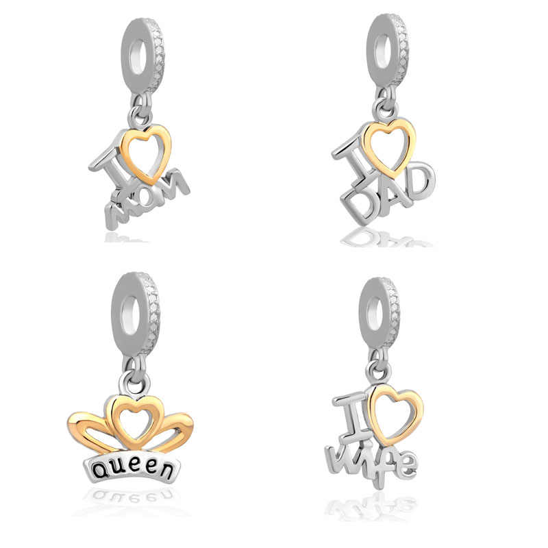 New Original free shipping mom dad wife queen pendant bead Fit European Pandora charms Bracelet Necklace DIY Women Jewelry gift