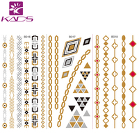 10PCS/LOT Women Body Art Gold Metallic Tattoo Sticker Chain Bracelet Fake Jewelry Waterproof Temporary Tattoo