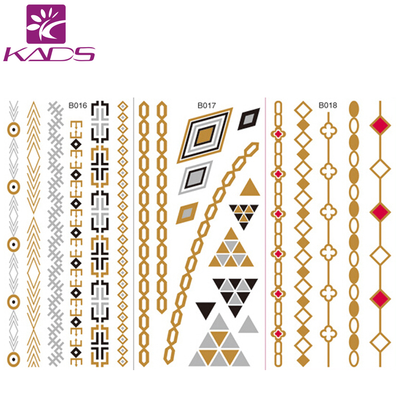 10PCS/LOT Women Body Art Gold Metallic Tattoo Sticker Chain Bracelet Fake Jewelry Waterproof Temporary Tattoo