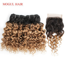 MOGUL волосы 50 г/шт. 4/6 пряди с закрытием волна воды Омбре медовый блонд бразильские Remy человеческие волосы коричневый короткий Боб Стиль
