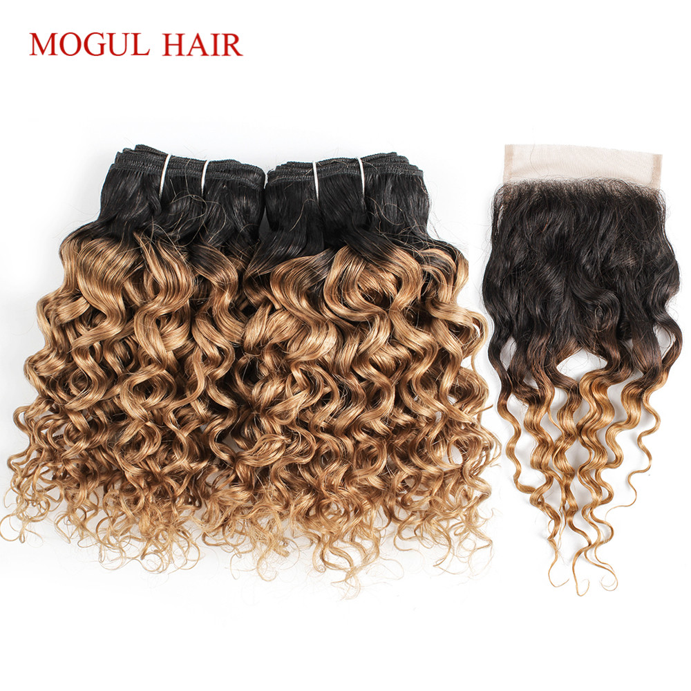 MOGUL HAIR 50g/pc 4/6 Bundles With Closure Water Wave Ombre Honey Blonde Brazilian Non Remy Human Hair Brown Short Bob Style