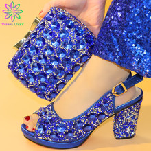 Mature Style New Arrival Nigerian Women Party Shoes Matching Bag Set New Design Italian Ladies Shoe and Bag to Match in Blue