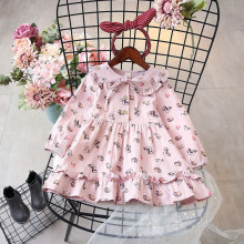 цена на DFXD 2018 Spring Autumn Kids Girl Long Sleeve Animal Print Peter Pan Collar Toddler Dresses New Cute Baby Party Dress 2-8Years