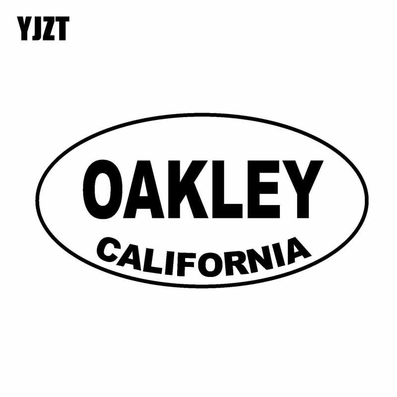 YJZT 13.8CM*7.4CM Oval OAKLEY CALIfFORNIA Car Sticker Personality Vinyl Decal Black Silver C10-01514