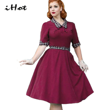 flare dresses for women audrey hepburn vintage retro 50s 60's bow plaid tartan patchwork tunic green party wiggle dress vestido