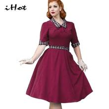 flare dresses for women audrey hepburn vintage retro 50s 60 s bow plaid font b tartan
