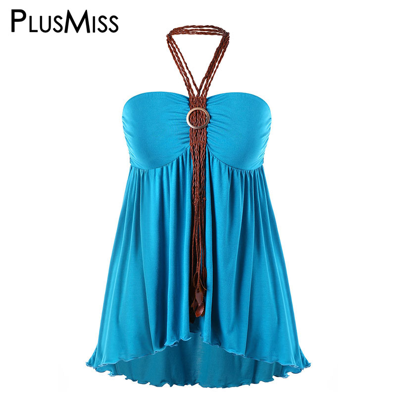 eccdd252bdba5 PlusMiss Plus Size 5XL 4XL Knitted Halter Boho Beach Cami Top Women Clothes Big  Size Summer 2018 Sexy Loose Backless Tops Ladies-in Camis from Women s ...