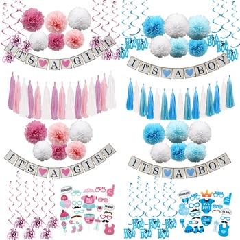 5cce59028 1 Juego de manualidades de Unidades papel Baby Shower es un Banner de niño niña  guirnaldas empavesado borla para niños cumpleaños decoración fiesta ...