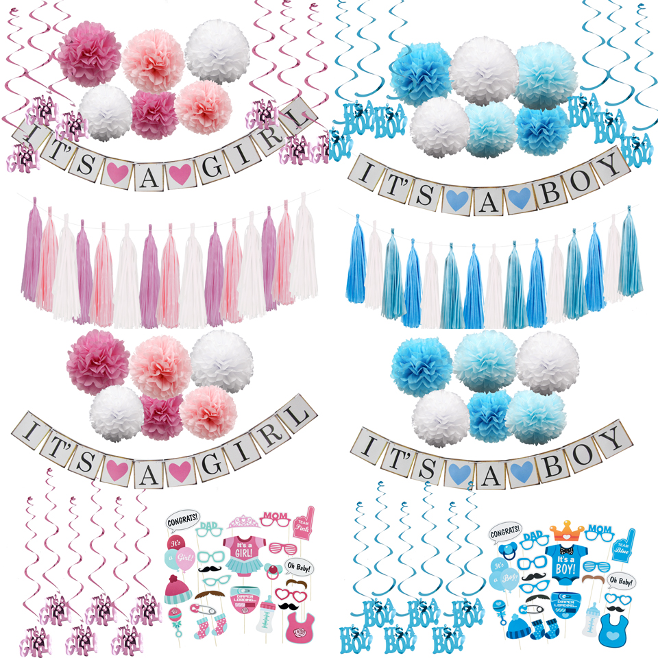 1Set Paper Crafts Baby Shower IT'S A Boy /Girl Banner Garlands Bunting Tassel For Kids Birthday Decoration Party Supplies