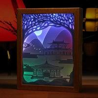 3d 밤 램프 종이 조각 빛 역사적인 건물 4 색 밤 조명 나무 프레임 어린이 룸 장식 램프 선물에 대 한 led|LED 나이트 라이트|   -