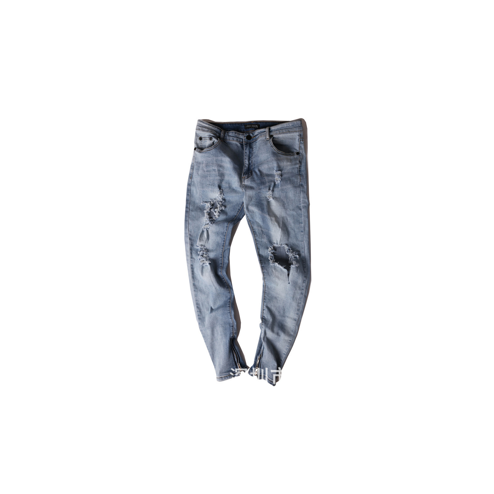 Mens Stretch Slim Pants Zippered Hole Pleated Full Length Jeans Trousers Mid Waist Cotton Hip Hop High Street Pencil Pants