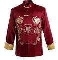 Бордовая традиционная китайская мужская Кунг-у куртка пальто рубашка вышивка с драконом M XL XXXL оптом и в розницу - фото