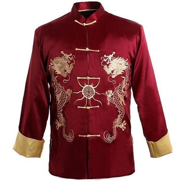 Buy burgundy traditional chinese men 39 s for Mens dress shirt monogram location