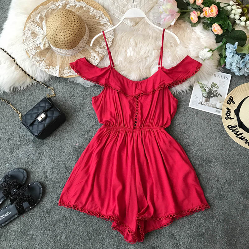 Nicemix Fashion Off Shoulder Sexy Summer Spaghetti Strap Rompers Short Jumpsuit Casual Women Playsuit Beach Holiday High Waist R