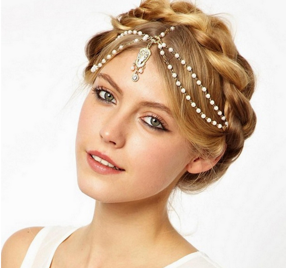 Women Vintage Deco Flapper Ivory Multi Beads Tikka Crown Headband Wedding Head Chain