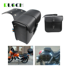 Universal Motorcycle Saddle Bag Side Bags Leather Motorbike Tool for Dyna Street Bob Fat Boy Kawasaki VN900B Hard Ball