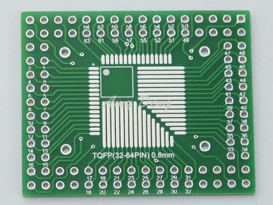 20pcs/lot Free shipping QFP / FQFP / TQFP32 / 44/64/80/100 LQFP SMD turn DIP 0.5 / 0.8mm adapter plate