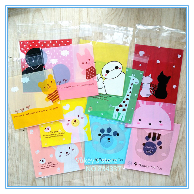 100pcs/lot 2 size Mixed style Cute cartoon animals plastic bags cookie packaging bag 7x7cm 10x10cm self adhesive bags