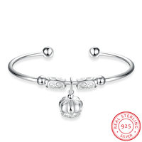 Ann Snow Lovely Crown Open Cuff Bracelets Bangles For Women Authentic 925 Sterling Silver Bangle Pulseiras