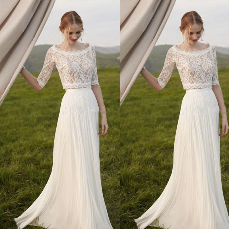 Elegant Two Pieces Lace Arab Wedding Dress Sheath 2017 Half Sleeves ...