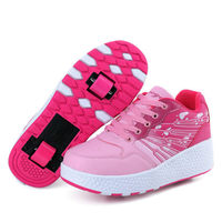 NEW heelies LED Light Sneakers with Wheel Roller Skates Boys Shoes Invisible Pulley Roller Skating kids wheely tenis infantil