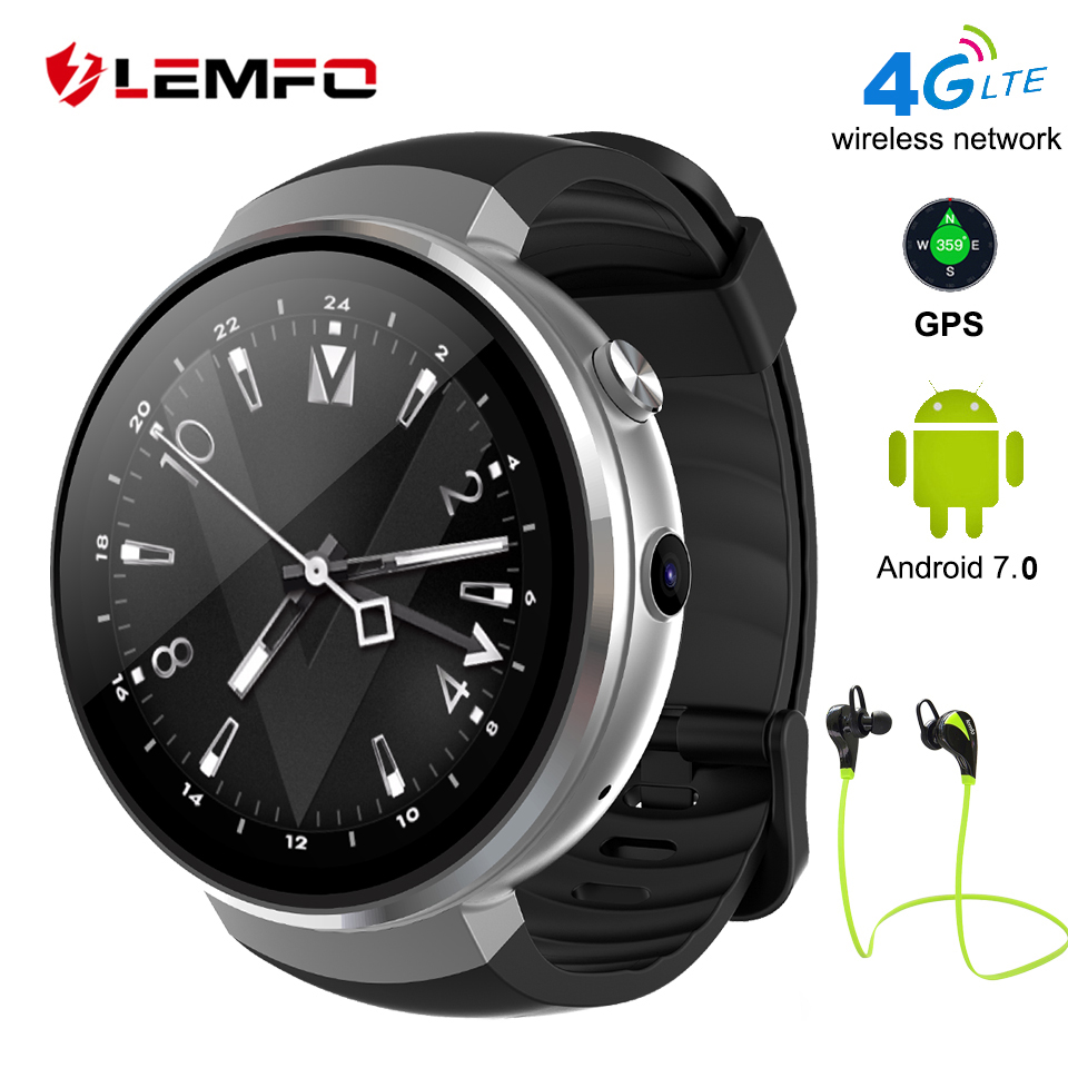 LEMFO 2018 New LEM7 Smart Watch Android 7.0 LTE 4G Sim 2MP Camera GPS WIFI Heart Rate 1GB + 16GB Memory with Bluetooth Earphones bracelet android 6 0 lte 4g bluetooth smart watch phone mtk6737 1gb 16gb memory support sim card wifi gps heart rate smartwatch
