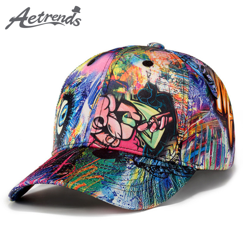 [AETRENDS] 2018 New Fashion Graffiti Design Baseball Cap Men Women Outdoor Sport Snapback Hat Z-6251