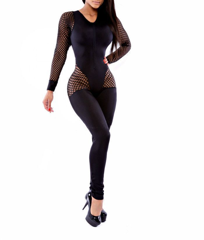 Women'S Tight Black Jumpsuit | Fashion Ql