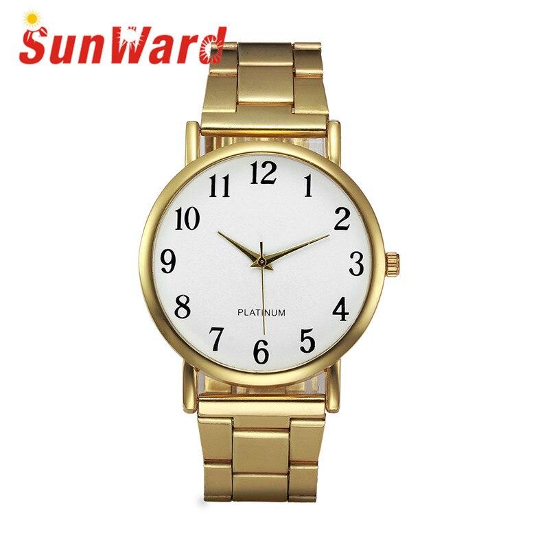 Sunward Relogio Feminino Crystal Stainless Steel Analog Quartz Wrist Watch Brace Womens Watches Fashionable Horloge 17May3