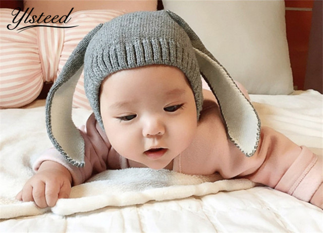 Baby photography props baby boy girl cartoon rabbit ears hat knitted beanie winter cap newborn props