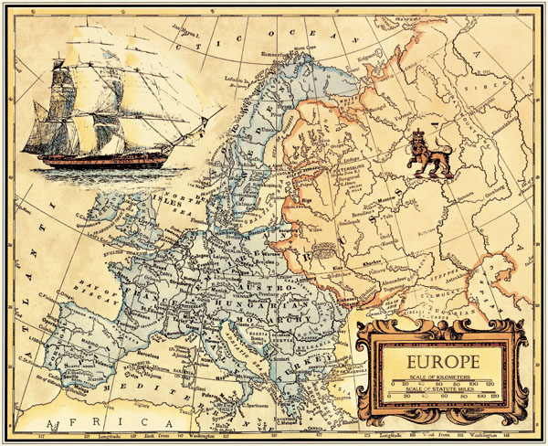 Free ship Vintage Oil Painting Canvas EUROPE Map Wall Art Picture ...