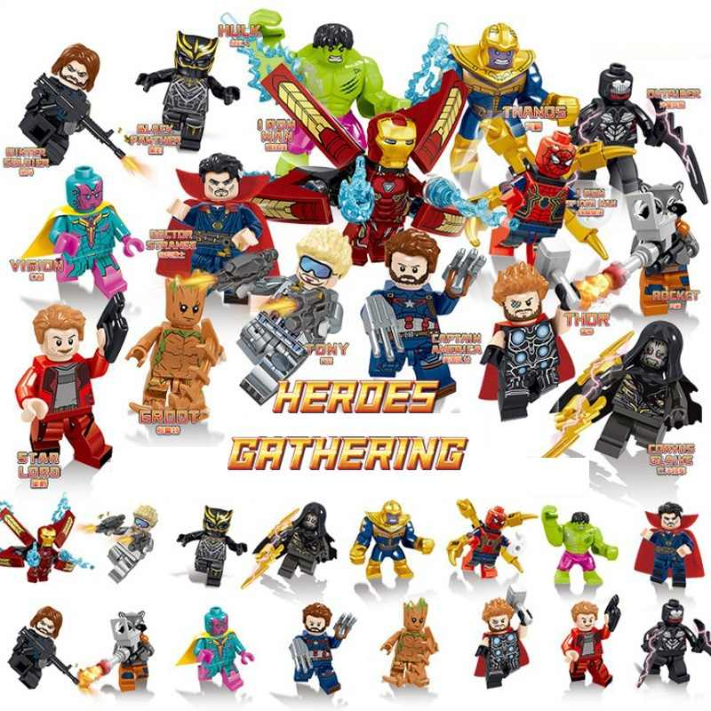 16Pcs/Set Legoed Marvel Avengers Endgame Model Iron Man Thanos Building Blocks Bricks Action Figures Children Gift Toys LE34067
