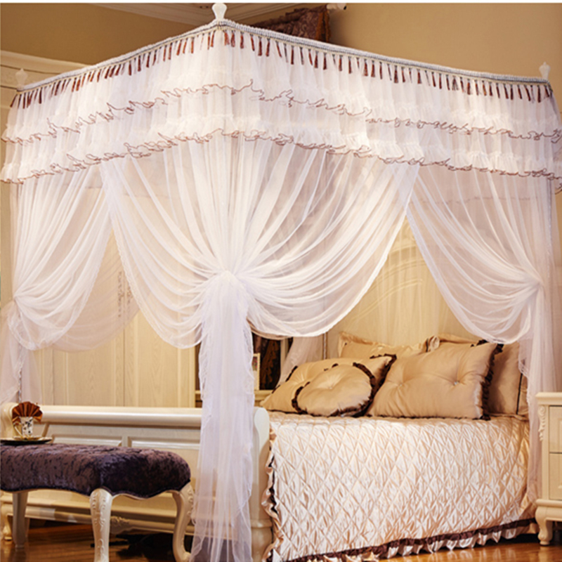 2016 Newly Listed High Quality Eight Metal Steel Frame Pole Mosquito Net Bed 4 Four Corner Canopy Queen Size King White In From Home
