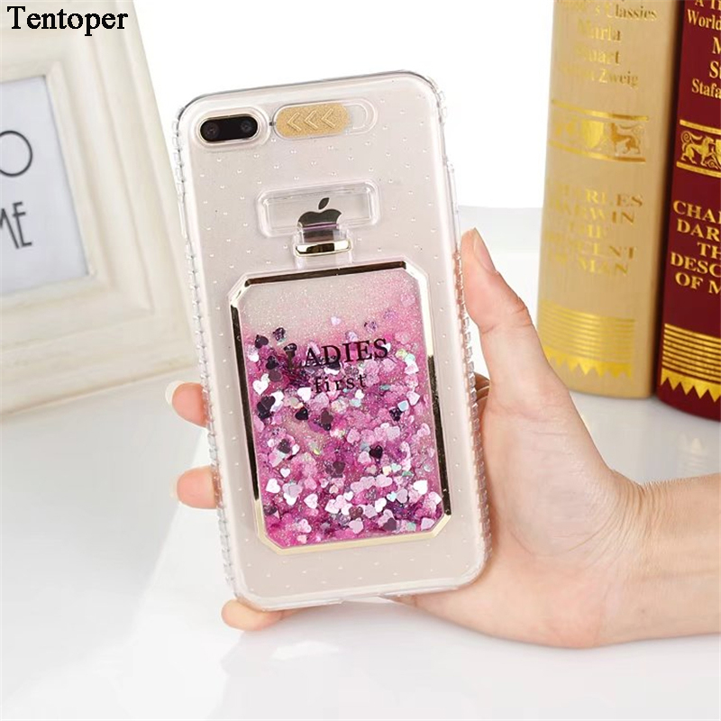 For iPhone 7 6S 6 7 Plus Case Fashion Bling Liquid Quicksand Perfume Bottles For iPhone 8 7 6 6s Plus Call Flashing Back Cover