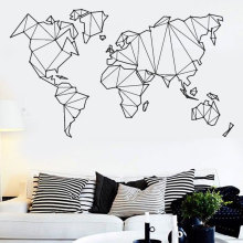 Map of The World Vinyl Wall Decal Home Decor Living Room Geometric Removable Abstract Sticker For Bedroom DT12