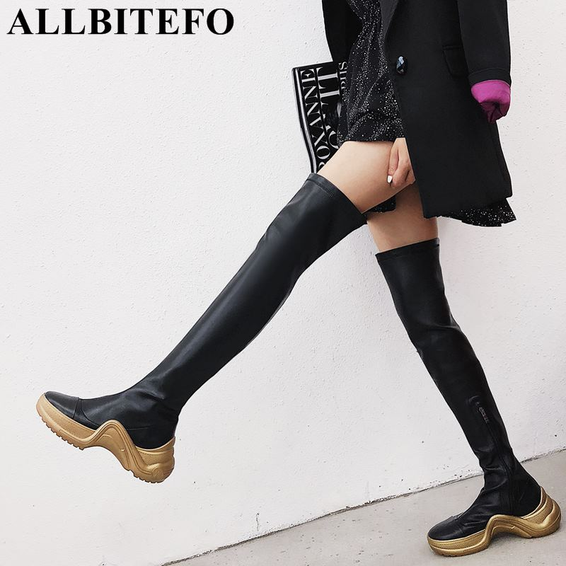 ALLBITEFO genuine leather + elastic material women boots fashion sexy girls over the knee boots winter plush thigh high boots цена 2017