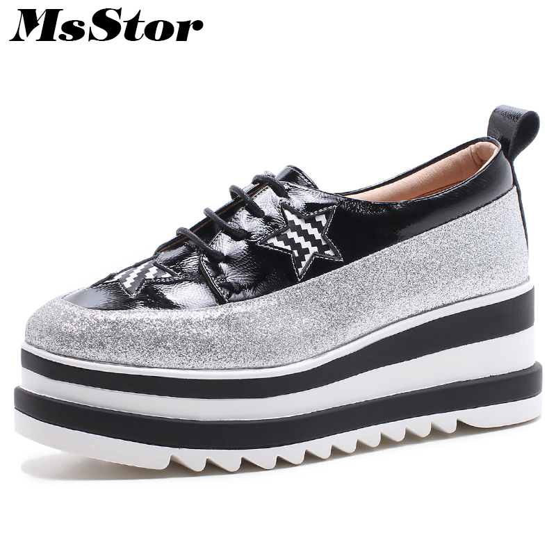 MsStor Round Toe Cross Tied Women Flats Fashion Mixed Colors Star Casual Women Flat Shoes Platform Women Flats Leather Shoes 2016 new fashion women flats women genuine leather flat shoes female round toe casual work shoes women shoes