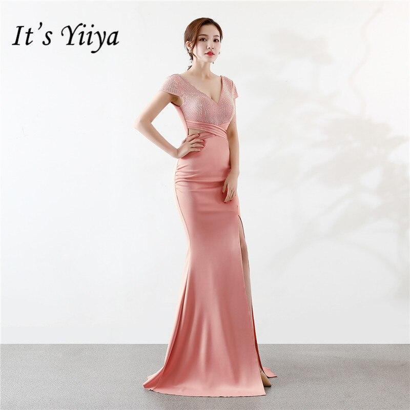 Il Yiiya de Paillettes robe de soirée-Parole longueur zipper retour Sirène robe de fête V-cou courtes manches longues Bleu Royal robes C075