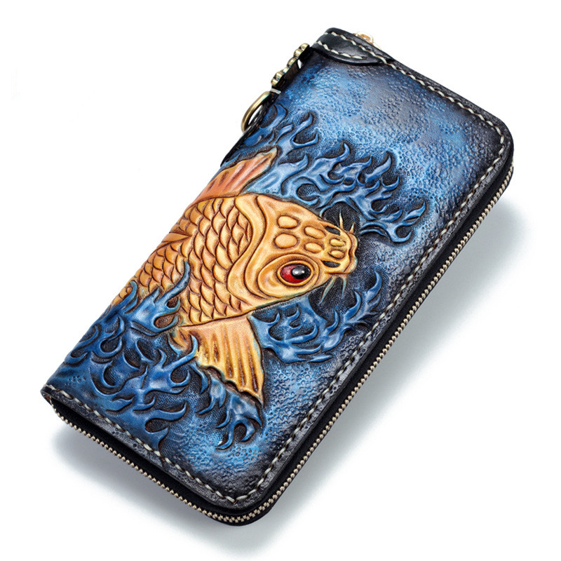 Genuine Leather Wallets Carving Carp Bag Purses Women Hand Sewing Long Clutch Vegetable Tanned Leather Wallet Boyfriend Gift men clutch bag italian vegetable tanned leather long wallet luxury phone wallets wristlet male purse man clutch hand bag purses