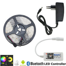Bluetooth RGB LED Strip SMD 2835 Waterproof LED Light 5 m 300 led RGB Băng + RGB Bluetooth Điều Khiển + EU MỸ LED Power Adapter(China)
