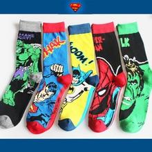 Большие Скидки Новая Мода Хлопок мужские Носки Мультфильм Супер Мужчины Высокое Качество Бэтмен мужская Носок Мягкие Удобные Человек носок