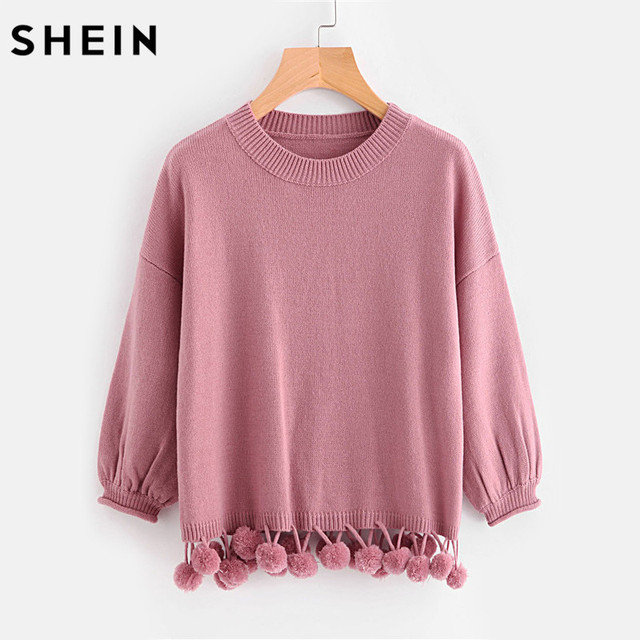 SHEIN Pom-Pom Ajuste Jumper de Manga Farol Otoño 2017 Lindo Suéter de color Rosa de Manga Larga de Cuello Redondo Suéteres Casuales