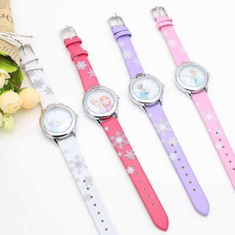 Crianças relógios meninas 2019 novos relojes dos desenhos animados crianças relógio princesa relógios moda crianças bonito de borracha de couro relógio de quartzo presentes
