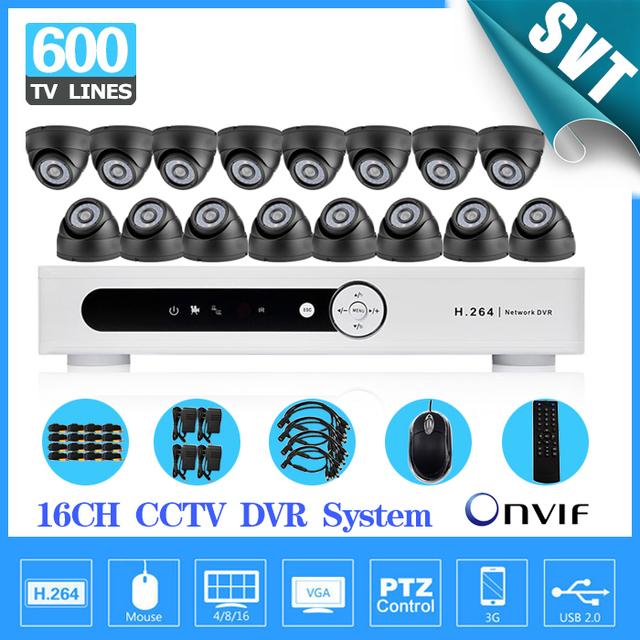 Casa de segurança 600TVL 16 pcs interior dome câmera de vigilância CCTV kit 16 canais H.264 DVR IR à prova de intempéries CCTV sistema de vídeo
