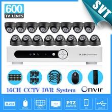 Home security 600TVL 16pcs indoor dome camera CCTV surveillance kit 16 channel H.264 DVR IR weatherproof CCTV video system