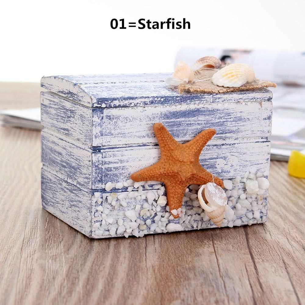 1 Pc Cute Starfish Pattern Jewelry Storage Box Jewelry Ring Necklace Earring Display Wooden Case Earring Storage Box Gifts